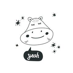 Cute hippo head vector illustration. Design element, modern style clipart
