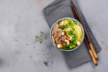 Asian noodle with beef, vegetables