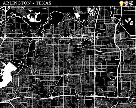 Simple map of Arlington, Texas