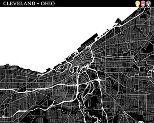 Simple map of Cleveland, Ohio