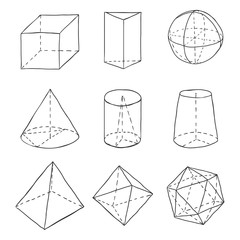 Vector Set of Black Hand Drawn Sketch Geometry Shapes