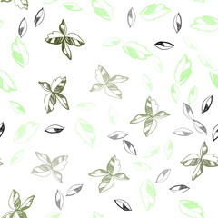 Light Green vector seamless abstract pattern with leaves.