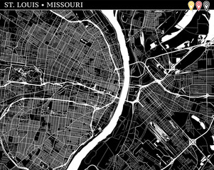 Simple map of St. Louis, Missouri