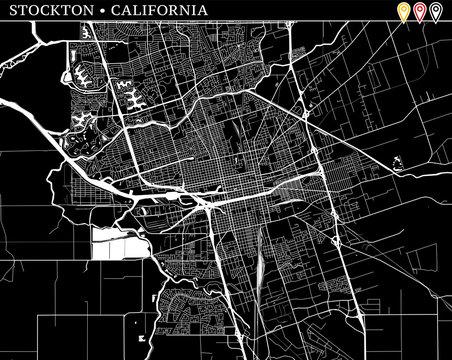 Simple map of Stockton, California