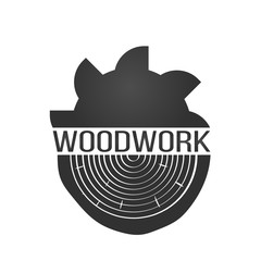 wood work logo with sawed wood isolated on background for wood master, carpentry service and sawmill service. Wood work stamp and manufacture banner. Vector illustration.