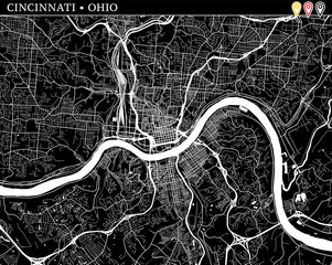Simple map of Cincinnati, Ohio