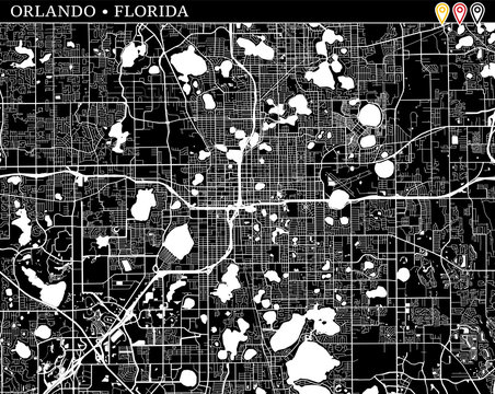 Simple map of Orlando, Florida