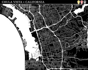 Simple map of Chula Vista, California
