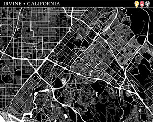 Simple map of Irvine, California
