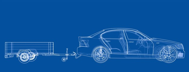 Sedan with open trailer sketch. Vector