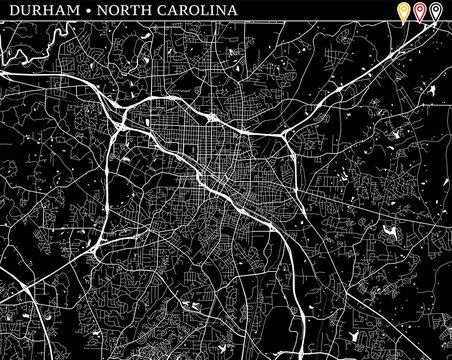 Simple map of Durham, North Carolina