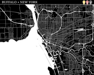 Simple map of Buffalo, New York