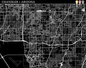 Simple map of Chandler, Arizona
