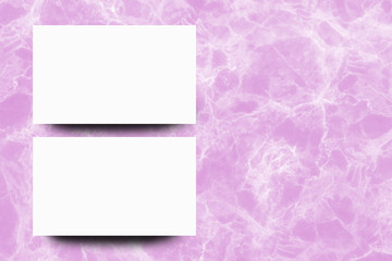 Empty white paper sheet on Pink marble background,Mock up for design.