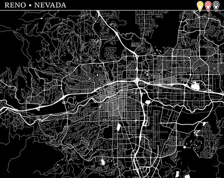 Simple map of Reno, Nevada