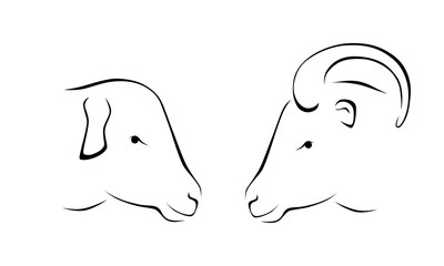 head of sheep and ram outline icon vector illustration