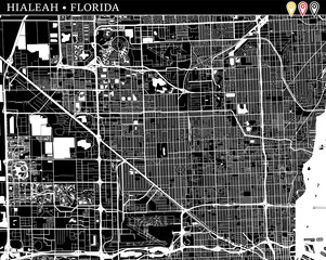 Simple map of Hialeah, Florida