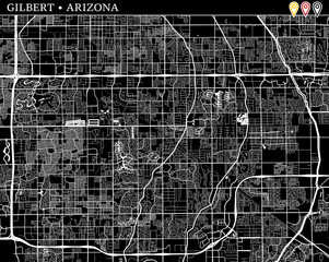 Simple map of Gilbert, Arizona