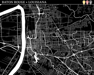 Simple map of Baton Rouge, Louisiana