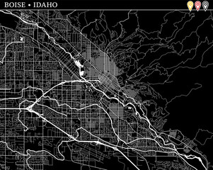 Simple map of Boise, Idaho