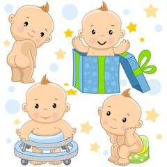 A set of illustrations of icons with a baby boy, stands with his back without clothes, on holiday he crawls out of a gift box, learns to walk in a walking device, sits on a slide in the toilet.