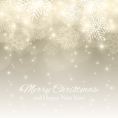 Merry Christmas background with abstract snowflakes.  Winter gold background. Template for your design, greeting card, banner and poster. Vector illustration