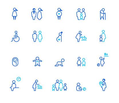 People icons, simple line set