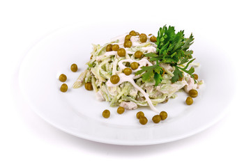 Salad of ham, cucumbers and peas