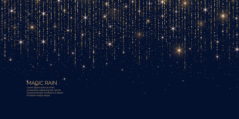 Bright vector illustration Magic rain of sparkling glittery particles lines.