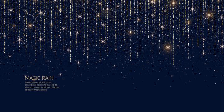 Bright vector illustration Magic rain of sparkling glittery particles lines.