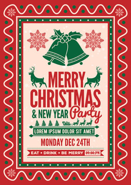 Christmas party design template. Vector illustration.