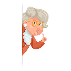 Wise advice look out corner grandmother talking old woman granny character adult icon cartoon design vector illustration