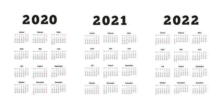 Set of A4 size vertical simple calendars in german at 2020, 2021, 2022 years isolated on white