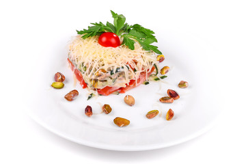 Salad of meat, cheese, cucumbers and tomatoes