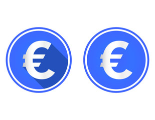 Euro round flat icon, currency icon