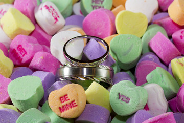 Wedding rings in candy