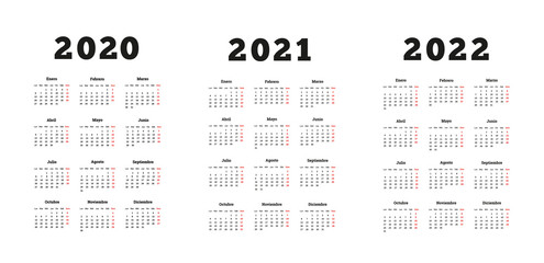 Set of A4 size vertical simple calendars in spanish at 2020, 2021, 2022 years isolated on white
