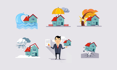 Insurance icons set, natural disasters, property protection, insurance and risk insured events vector Illustration