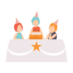 Happy girl blowing candles with her friends, kids celebrating birthday vector Illustration on a white background