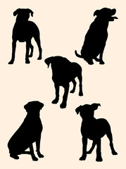 Rottweiler dog silhouette 01. Good use for symbol, logo, web icon, mascot, sign, or any design you want.