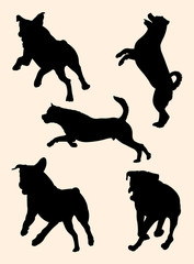 Rottweiler dog silhouette 03. Good use for symbol, logo, web icon, mascot, sign, or any design you want.