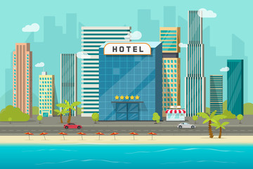 Hotel near sea or ocean resort view vector illustration, flat cartoon hotel building on beach, street road and big skyscrapers town landscape, font view cityscape panorama clipart