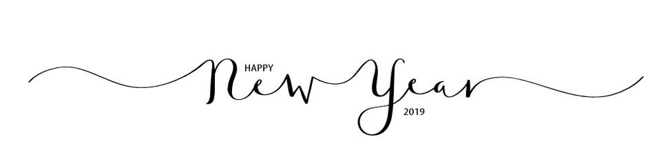 HAPPY NEW YEAR 2019 brush calligraphy banner