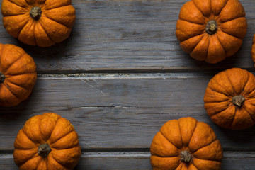 MIni pumpkins arranged on a rustic wooden background