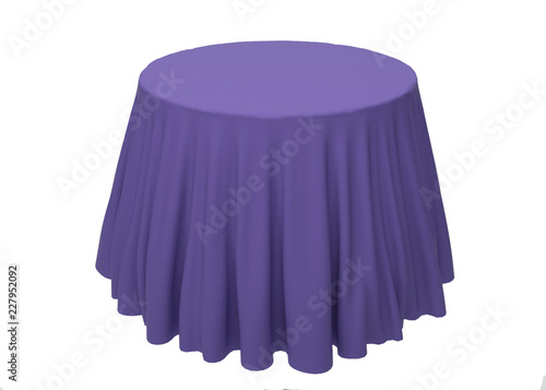 blue silk tablecloth on a white background template mockup for
