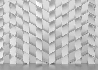 3d rendering. Luxurious gray trapedzoid shape tile pattern wall background.