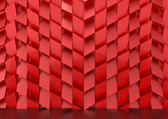 3d rendering. Luxurious red trapedzoid shape tile pattern wall background.