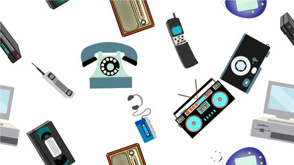 Texture, seamless pattern of old retro hipster electronics, mobile phones, tv recorder, player, audio tape, video recorder, game console, camera, computer. The background. Vector illustration