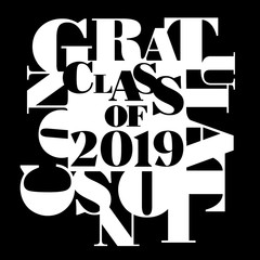 An abstract vector typography illustration of Class of 2019 in black and white