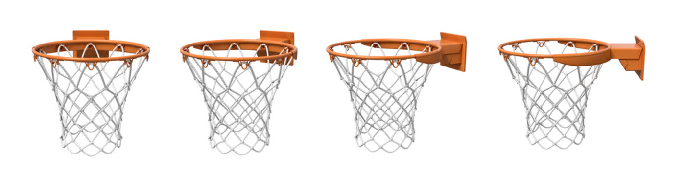 3d rendering of a set made of four basketball baskets with orange loop and fixing bracket.